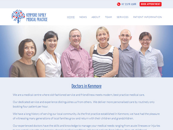 Kenmore Family Medical Practice - Content management system  · Blog  · Mobile responsive  · Nimbo website builder