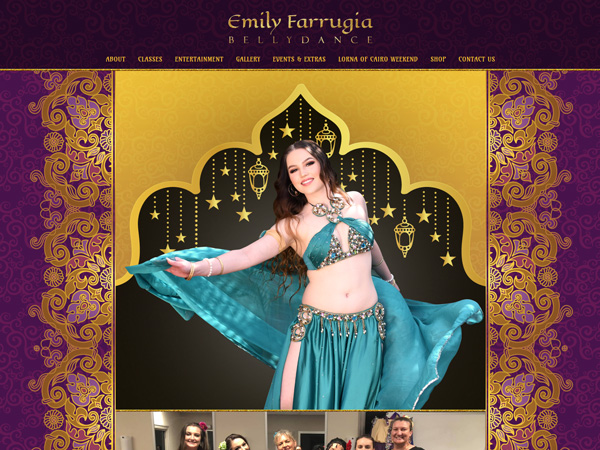 Emily Farrugia Bellydance - Content management system  · E-commerce  · Gallery  · Mobile responsive  · Nimbo website builder