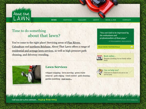 About That Lawn & Garden - Design  · Simple brochure  · Custom functions  · Mobile responsive