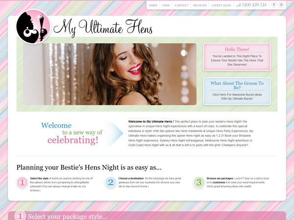 My Ultimate Hens - Design  · Custom functions  · Mobile responsive